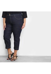 Calça Jeans Xtra Charm Plus Size Cropped + Cinta Modeladora Feminina - Feminino