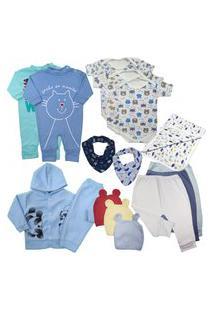 Kit 13Pçs Roupinha De Bebê Para Presente De Enxoval Lindo Azul