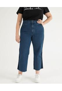 Calça Jeans Reta Com Veludo Na Lateral Curve & Plus Size