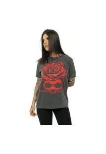 Camiseta Bossa Brasil Red Skull Preto Estonado