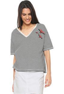 Camiseta Hering Estampada Branca/Preta