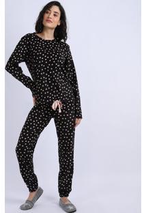 Pijama Feminino Em Fleece Estampado De Poá Manga Longa Preto