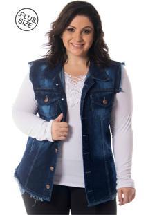 Colete Lavanda E Alecrim Jeans Desfiado Destroyed Plus Size Azul - Kanui