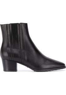 Tod'S Ankle Boot De Couro Com Stretch E Salto 50Mm - Preto
