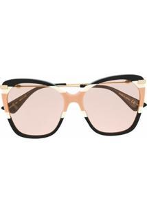 Gucci Eyewear Óculos De Sol Oversized Com Efeito Borboleta - 007 Multicolor