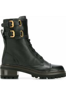 See By Chloé Ankle Boot Com Fivela - Preto