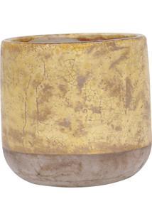 Vaso De Cerâmica Na Cor Amarelo Rustico Gr