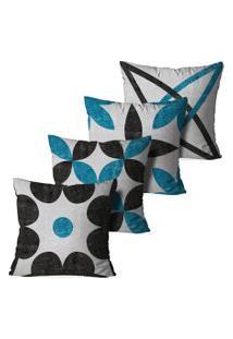 Kit 4 Capas Para Almofadas Decorativas Chumbo E Azul 35X35Cm