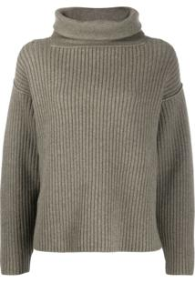 Alexander Wang Funnel-Neck Ribbed Sweater - Verde