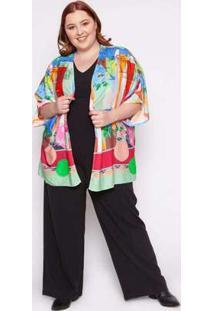 Kimono Almaria Plus Size Kayla Lisboa Estampado Verde