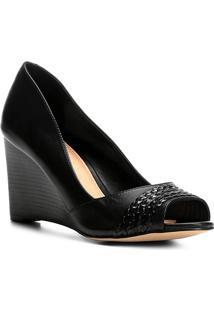Peep Toe Couro Shoestock Anabela Tranças - Feminino-Preto