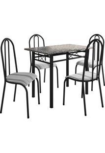 Conjunto De Mesa Genebra C/ 4 Cadeiras Alicante Preto Fosco Fabone Móveis Tubulares