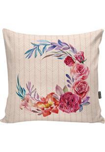 Capa De Almofada Flowers- Bege & Pink- 42X42Cm- Stm Home