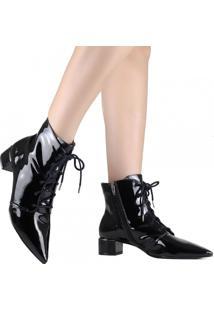 Bota Ankle Boot Zariff Verniz Preto