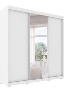 Guarda Roupa Toronto Robel 3 Portas De Correr C/ Espelhos Branco Robel Móveis
