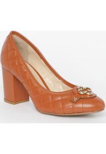 Sapato Tradicional Em Couro Matelassê- Laranja Escuro