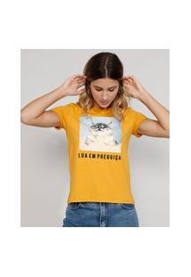 """Camiseta Feminina Manga Curta Gatinho Lua Em Preguiça"""" Decote Redondo Mostarda"""""""
