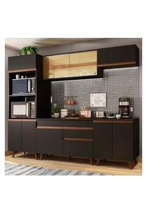 Cozinha Completa Madesa Reims 260002 Com Armário E Balcão Preto Preto