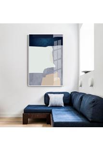 Quadro 60X40Cm Abstrato Geomã©Trico Oriental Malko Moldura Branca Sem Vidro - Multicolorido - Dafiti