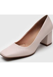 Scarpin Dafiti Shoes Bico Quadrado Off-White