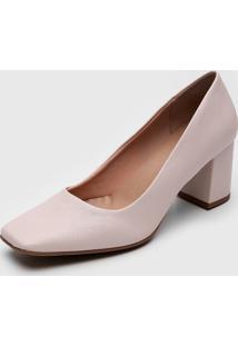 Scarpin Dafiti Shoes Bico Quadrado Off-White - Off-White - Feminino - Sintã©Tico - Dafiti
