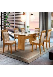 Conjunto De Mesa De Jantar Dakota Com 6 Cadeiras Rubi Ll Suede Off White E Bege