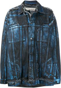 Ottolinger Metallic-Effect Oversized Denim Jacket - Azul