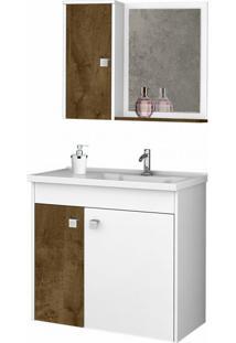 Conjunto Para Banheiro Munique Madeira Rústica E Branco