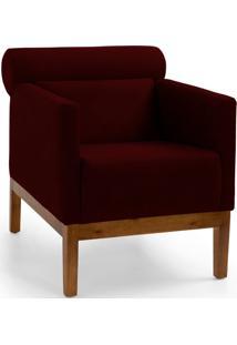 Poltrona Decorativa Fixa Base De Madeira Aspen Veludo Marsala B-278 - Lyam Decor - Vermelho - Dafiti