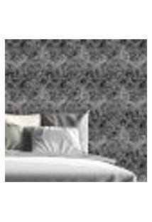 Papel De Parede Autocolante Rolo 0,58 X 5M - Preto E Branco 0306