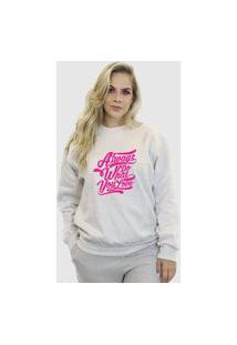 Blusa Moletom Feminino Moleton Básico Suffix Branco Estampa Always Do What You Love Pink