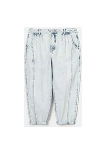 Calça Baggy Jeans Com Botão De Pérola Curve & Plus Size | Ashua Curve E Plus Size | Azul | 52