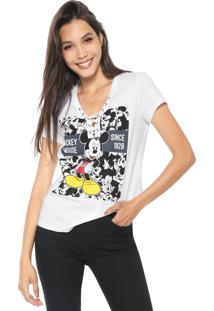 Camiseta Cativa Disney Lace Up Branca