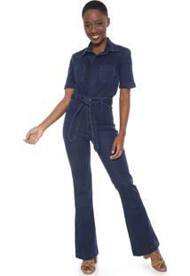 Macacão Jeans Utilitário Maria Filó Flare Bolsos Azul