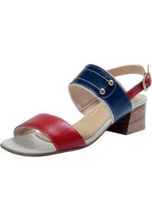 Sandália Em Couro Confort Feminino - Feminino-Vermelho