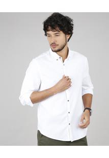 Camisa Masculina Comfort Manga Longa Off White