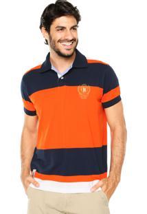 Camisa Polo Aleatory Escudo Tricolor Azul/Laranja