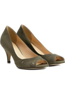 Peep Toe Couro Shoestock Salto Médio Botões - Feminino