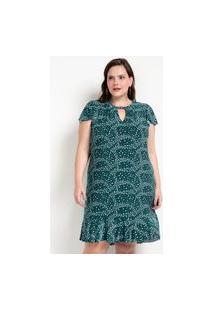 Vestido Cuto Em Jersey Com Estampa De Corações E Fivela No Decote Curve & Plus Size | Ashua Curve E Plus Size | Verde | G