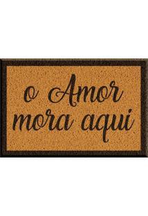 Capacho De Vinil O Amor Mora Aqui Amarelo Único Love Decor