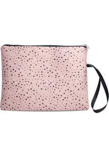 Necessaire Porta Biquíni Em Neoprene Tritengo Glitter Zíper Preto - Feminino-Rosa
