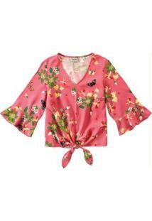 Blusa Rosa Ampla Estampada Amarração Enfim