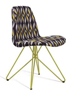 Cadeira Eames Base Aço Carbono Daf Colorido Preto