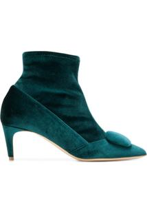 Rupert Sanderson Ankle Boot De Couro E Veludo - Green