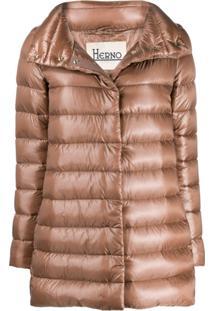 Herno Metallic Sheen Zip-Up Jacket - Marrom