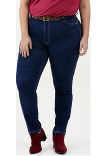 Calça Feminina Jeans Skinny Cinto Plus Size