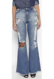 Jeans Flare Rasgado - Azul- Lança Perfumelança Perfume
