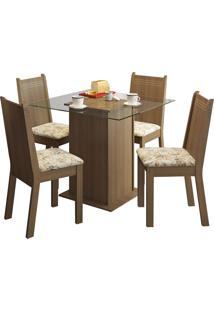 Sala De Jantar Madesa Base De Madeira Com Tampo De Vidro E 4 Cadeiras Lucy - Rústico E Liro Bege