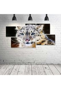 Quadro Decorativo - Leopard-Neon-Face-(2) - Composto De 5 Quadros
