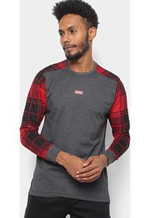 Camiseta Xadrez Manga Longa Overcore Estampada Masculina - Masculino